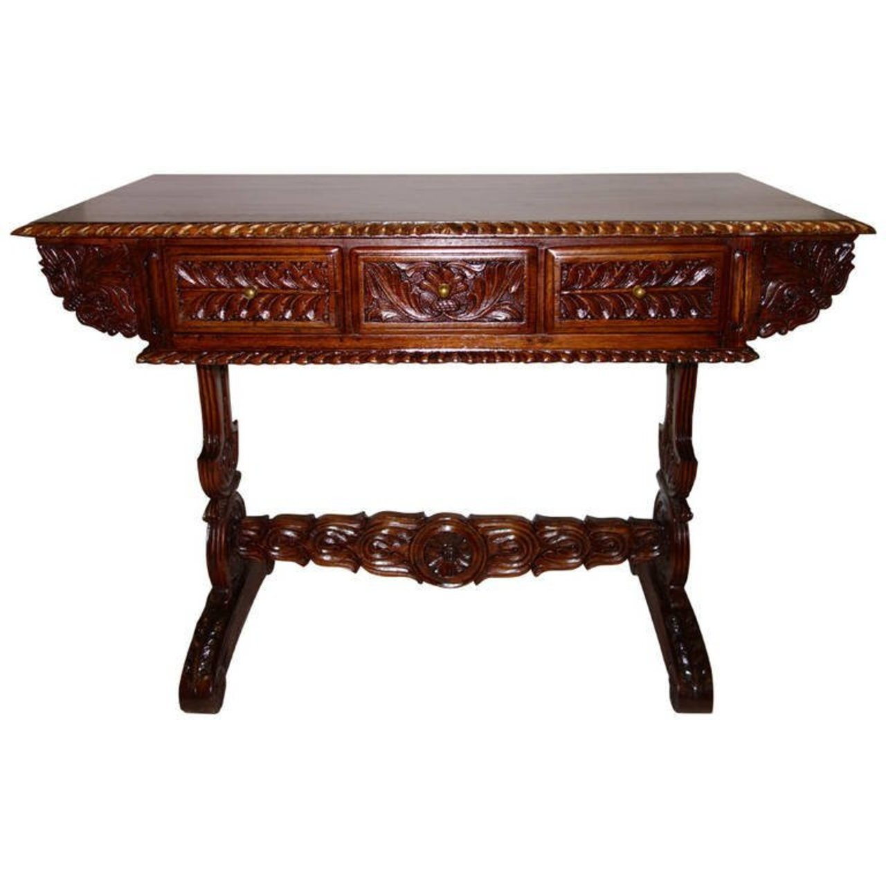 19th Century Anglo Indian Carved Rosewood Desk Or Sofa